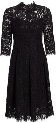 Teri Jon By Rickie Freeman Three-Quarter Sleeve Lace Flare Dress