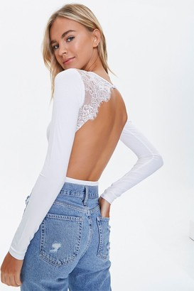 Forever 21 Lace Trim Bodysuit
