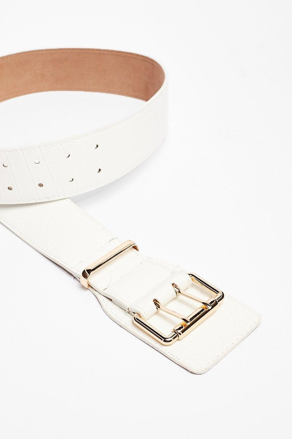 Thumbnail for your product : Nasty Gal Womens Faux Leather Croc Chunky Buckle Belt - White - One Size