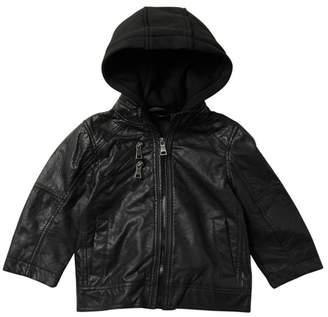 Urban Republic Nappa Faux Leather Moto Jacket with Fleece Hood (Little Boys)
