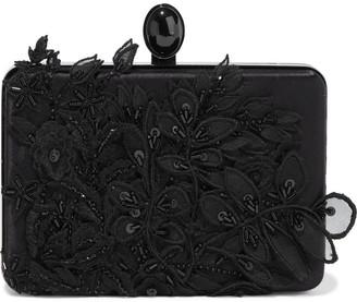 Oscar de la Renta Rogan Floral-appliqued Satin Box Clutch