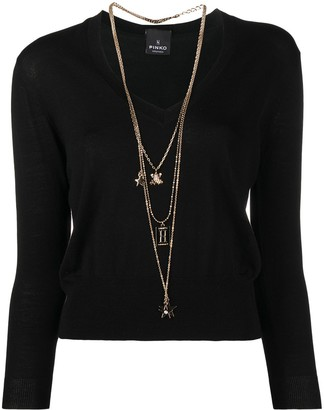 Pinko Sinding three-necklace knitted jumper