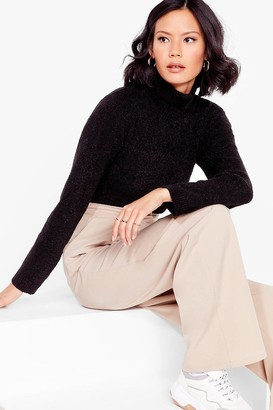Nasty Gal Womens Roll With Knit Cropped Turtleneck Sweater - Black