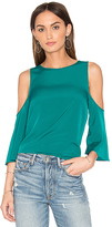 1 STATE Cold Shoulder Flounce Top in Green. - size M (also in S,XS)