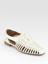Ralph Lauren Quilissa Leather Cutout Lace-Up Oxfords