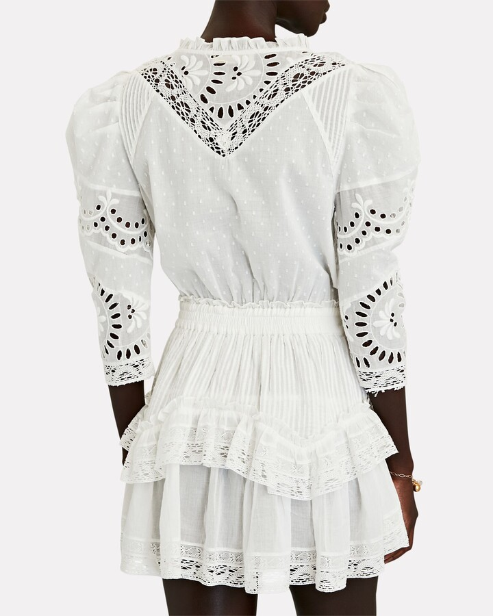 Thumbnail for your product : LoveShackFancy Isidore Embroidered Cotton Mini Dress