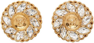 Versace Gold Crystal Medusa Clip-On Earrings