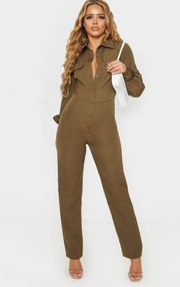 PrettyLittleThing Petite Khaki Full Sleeve Pocket Detail Jumpsuit