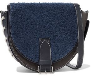 J.W.Anderson Bike Lace-up Shearling-paneled Smooth And Textured-leather Shoulder Bag