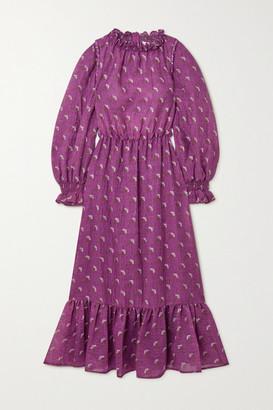 Sea Alexis Ruffled Floral-print Wool-blend Midi Dress - Purple