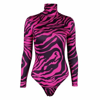 guangruiorrty Womens Sexy Turtleneck Long Sleeves Skinny Bodysuit Zebra Stripes Printed Leotard Night Party Clubwear with Snap Bottons Crotch with Hot Pink