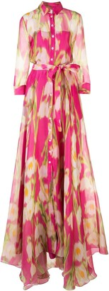 Carolina Herrera Floral Print Silk Shirt Gown