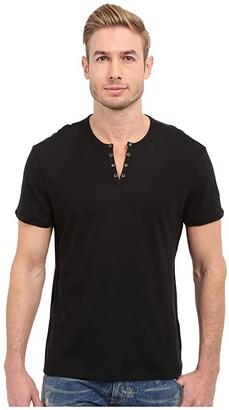 John Varvatos Short Sleeve Eylelet Crew Shirt (Black) Men's Clothing