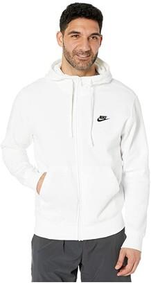 Nike NSW Club Hoodie Full Zip (Dark Grey Heather/Matte Silver/White) Men's Sweatshirt