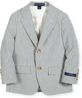 Ralph Lauren Striped Cotton Seersucker Sport Coat, Blue/Cream, Size 4-7
