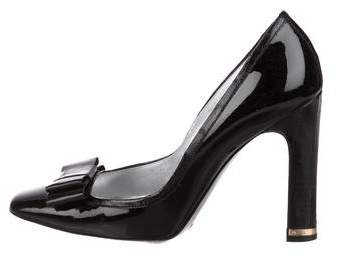 Dolce & Gabbana Patent Leather Bow Accented Pumps