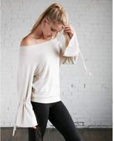 Express petite off the shoulder tie sleeve sweatshirt