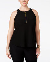 INC International Concepts Plus Size Front-Zip Halter Top, Only at Macy's