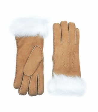 YISEVEN Women Merino Lambskin Shearling Leather Gloves Fluffy Cuff Soft Lined Warm Lining Winter Cold Dress Driving Work gift