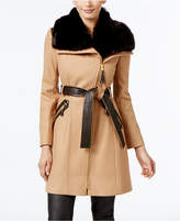 Via Spiga Petite Faux-Fur-Collar Wool-Blend Walker Coat