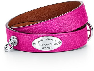 Tiffany & Co. Return to TiffanyTM narrow leather wrap bracelet in pink with sterling silver - Size Large-extra large