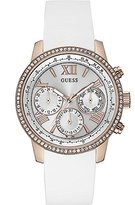 GUESS Women's Quartz Watch with Multicolour Dial Analogue Display and White Rubber Bracelet W0616L1