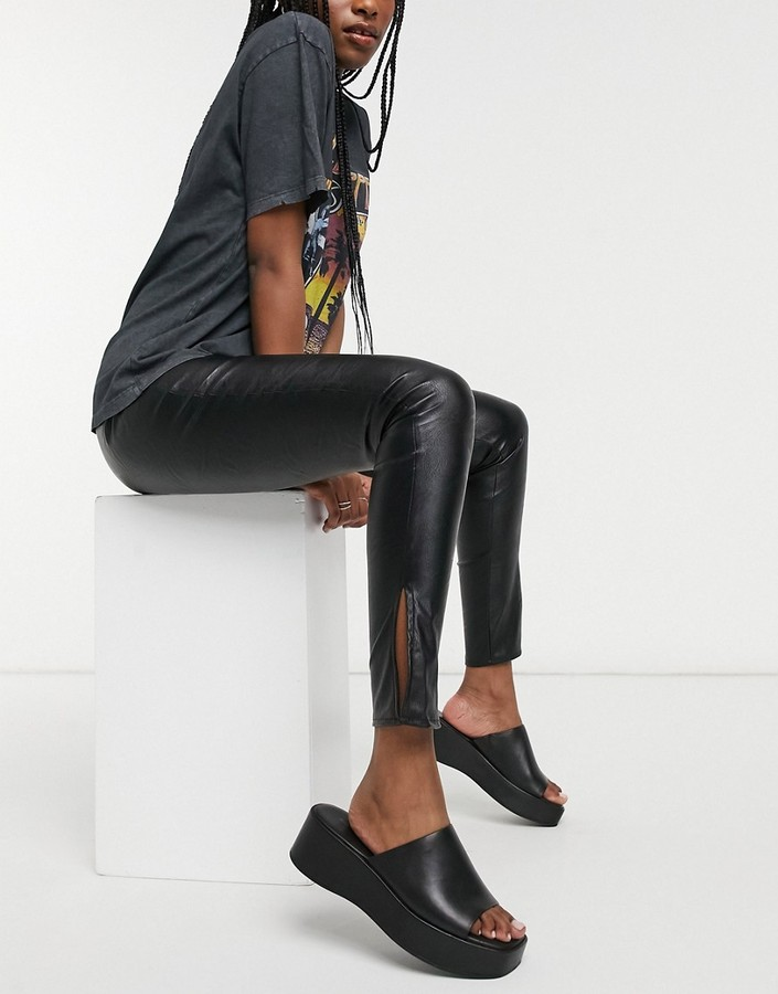 Thumbnail for your product : Parisian PU leggings with side slits in black