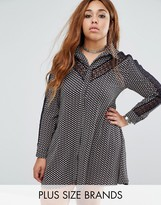 Alice & You Printed Shirt Dress With Lace Insert