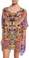 Camilla Printed Embellished Short Caftan Coverup, Rainbow Warrior