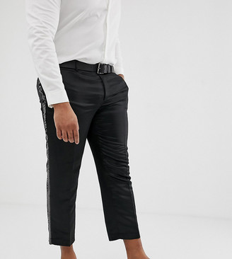 Asos DESIGN Plus slim crop smart trouser in black satin with sequin side stripe
