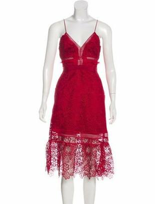 Self-Portrait Guipure Lace Midi Dress Red