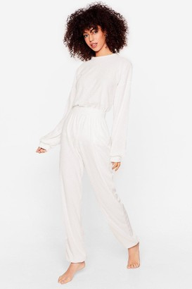 Nasty Gal Womens Get It Together Knit Hoodie and Wide-Leg Pant Set - White - S
