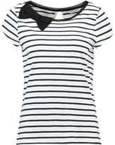Naf Naf Print Tshirt bleu marine ecru