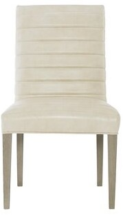 Bernhardt Mosaic Leather Upholstered Parsons Chair in Creme (Set of 2