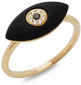 Effy 14K Yellow Gold, Onyx & White & Black Diamond Ring