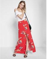Express high waisted floral print button front maxi skirt