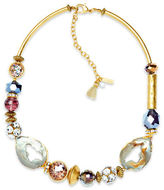 lonna & lilly Cubic Zirconia and Glass Beaded Collar Necklace