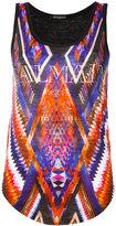 Balmain geometric print logo top - women - Linen/Flax - 36