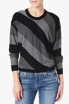7 For All Mankind Multi Stripe Sweater In Black And Grey