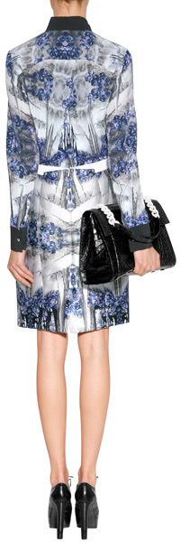 Prabal Gurung Blue-Multi Printed Silk Blouse with Contrast Placket