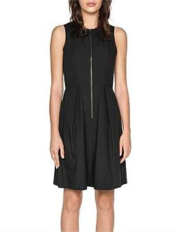 Cue Cotton Blend Zip Front Dress