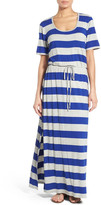 Bobeau Drawstring Waist Jersey Maxi Dress