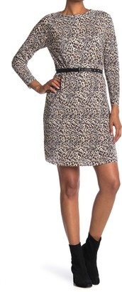 Sam Edelman Belted Leopard Print Plisse Pleated Dress
