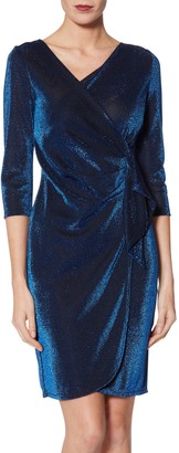 Gina Bacconi Brita Metallic Jersey Dress, Royal Blue