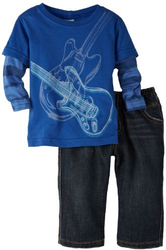 Charlie Rocket Baby-boys Infant Long Sleeve Twofer Guitar Tee and Denim Pant