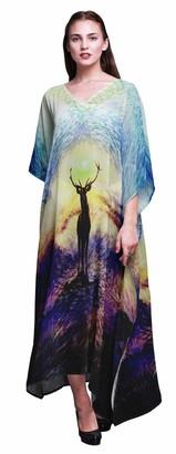 Phagun Animal Ladies Plus Size Kaftan Summer Wear Beach Coverup Kimono Caftan-S-M-L