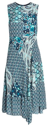 Elie Tahari Azure Mixed Print A-line Dress