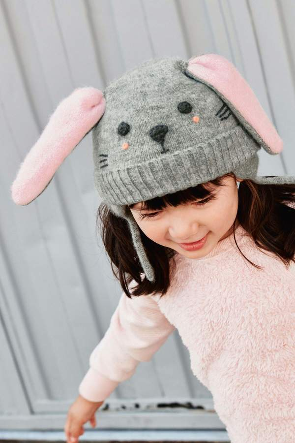 01363e992 Girls Grey Bunny Trapper Hat (Younger) - Grey