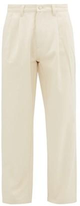E. Tautz Pleated Cotton-twill Straight-leg Chino Trousers - Cream