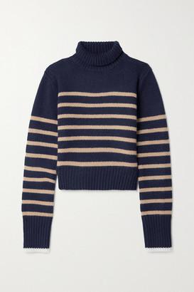 La Ligne Mini Marin Striped Wool And Cashmere-blend Turtleneck Sweater - Navy